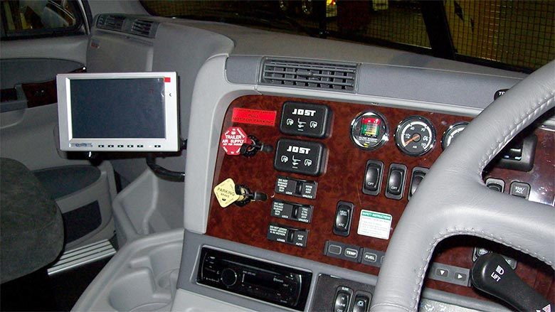 MTData GPS Tracking Console installed in Truck Cabin